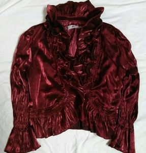 Rossi Roma Ruffle Front Jacket W/Bell Sleeves